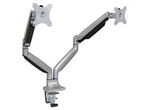 Mount-It! Monitor Desk Mount | Height Adjustable Arm |  Fits 17-32 Inch Screens | VESA 75x75, 100x100 | Silver
