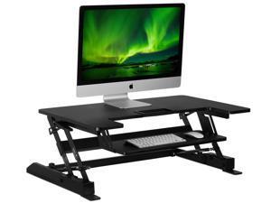 Mount-It! Standing Desk Converter with Gas Spring Riser | Wide 36 Inch Sit Stand Workstation | Black
