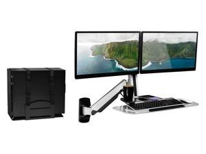 Mount-It! Sit Stand Dual Monitor Wall Mount Workstation with Articulating Keyboard Tray Arm and CPU Holder