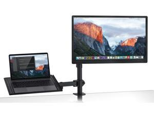 """Mount-It! Monitor Desk Stand with Laptop Holder   Fits 17""""-27"""" Computer Screens"""
