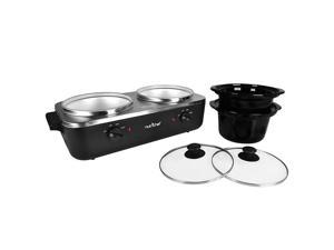 NutriChef PKBFWM26 Dual Pot Electric Slow Cooker Food Warmer / Buffet Warming Server