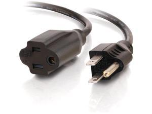 C2G 03115 18 AWG Outlet Saver Power Extension Cord - NEMA 5-15P to NEMA 5-15R, TAA Compliant, Black (6 Feet, 1.82 Meters)