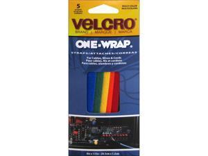 VELCRO Brand One-Wrap 1/2 In. x 8 In. Assorted Hook & Loop Tie (5 Ct.) 90438