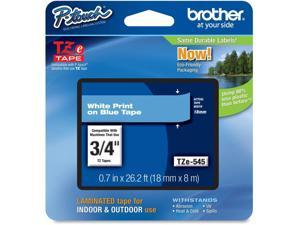 Brother P-Touch TZE-545 TZ Standard Adhesive Laminated Labeling Tape, 3/4w, White on Blue