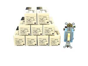 Leviton 1203-2I Ivory Industrial Grade Three Way Toggle Light Switch 15A (Pack of 10)