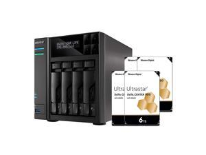 Asustor NAS AS6404T + 24TB WD Ultrastar HDD (Four 6TB HDD Included)