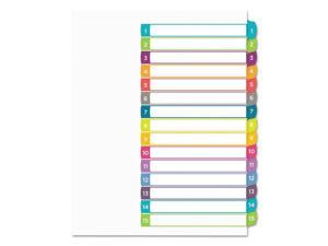 Avery Ready Index Table of Contents Dividers Multicolor Tabs 1-15 Letter 11845