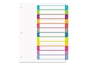 Customizable TOC Ready Index Multicolor Dividers, 1-12, Letter 11843
