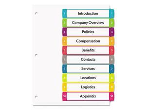 Avery Ready Index Table of Contents Dividers Multicolor Tabs 1-10 Letter 11842