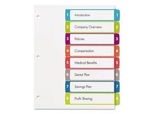 Avery Ready Index Table of Contents Dividers Multicolor Tabs 1-8 Letter 11841