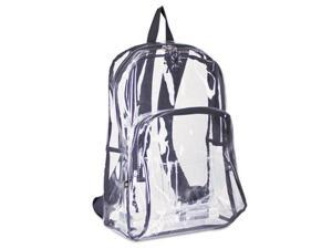 Eastsport Backpack PVC Plastic 12 1/2 x 5 1/2 x 17 1/2 Clear/Black 193971BJBLK