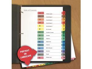 UNIVERSAL Table of Contents Dividers Assorted Color 15-Tab 1-15 Letter White 6