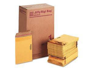 "Jiffy Mailer Jiffy Rigi Bag Mailers - Shipping - #1 - 7 1/4"" Width x 10 1/2"" Length - Self-sealing - Kraft, Fiberboard -"