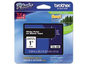 "Brother P-touch TZe 1"" Laminated Tape Cartridge - 1"" Width x 26 1/5 ft Length - Rectangle - Thermal Transfer - White, Bl"