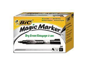 BIC GELITP241-BK Low Odor And Bold Writing Dry Erase Marker, Chisel Tip, Black, 24/Pack