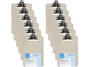 Business Source Compact Plastic Clipboard - Spring Clip - Plastic - Smoke - 12 / Box  BSN01859BX