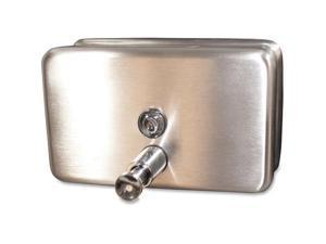 Genuine Joe Liquid Soap Dispenser Horizontal 40oz Cap Stainless Steel 85146