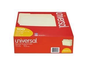 Universal 16113 File Folders- 1/3 Cut Assorted- Two-Ply Top Tab- Letter- Manila- 100/Box