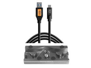 Tether Tools TetherBLOCK QR Plate, TetherPro 15' USB 3.0 to USB-C Cable, Black
