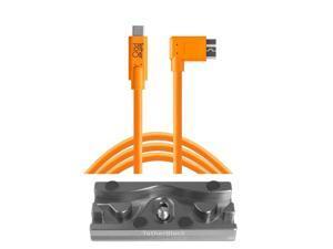 Tether Tools TetherBLOCK QR Plate, 15' USB-C to Micro-USB 3.0 B RA Cable, Orange