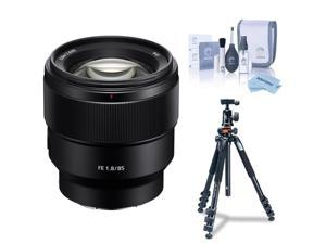 Sony FE 85mm F1.8 E-Mount Lens with Vanguard Alta Pro 264AT Tripod, Cleaning Kit