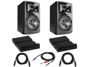 """JBL 308P MkII Powered 8"""" Two-Way Studio Monitor W/2x Isolation Pad/And Cables"""