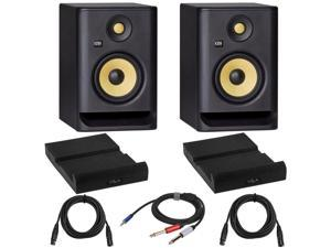 """KRK 2x ROKIT 5 G4 5"""" Powered Studio Monitor, Black with Isolation Pads, Cables"""