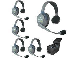 Eartec UL5S 5-Person Full Duplex Wireless Intercom with 5 Ultralite Single Ear Headsets