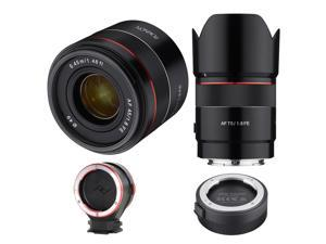 Rokinon 45mm f/1.8 /75mm F1.8 AF Ultra Compact Lenses for Sony E Mount W/ACC KIT