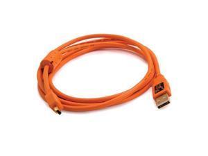 Tether Tools CU5407 6' ThetherPro USB 2.0 A Male to Mini-B 5 Pin Cable, Orange