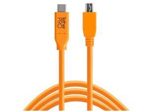 Tether Tools TetherPro USB-C to 2.0 Mini-B 5-Pin Cable, 15', Orange #CUC2415-ORG