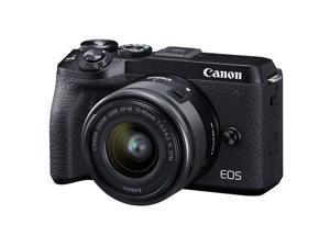Canon EOS M6 Mark II Mirrorless Digital Camera, 15-45mm Lens, EVF-DC2, Black