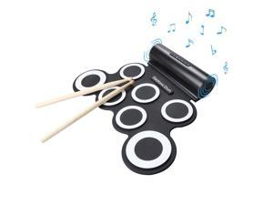 Portable Electronic Roll-Up Drum Kit, Foldable Drum Set Built in Speaker With DrumSticks, Foot Pedals 7 Drum Pads ,Headp