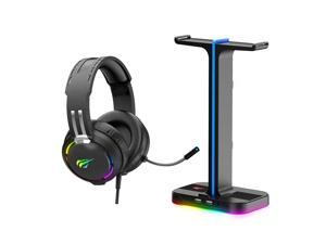 Havit Gaming Headphone Stand & Wired Gaming Headset Desk Dual Headset Hanger Base with Phone Holder & 2 USB Charger for Dual Gaming Headphones Desktop PC Game Earphone Accessories