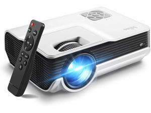 Mini Projector,Iolieo 5500 Lumen 1080P Supported Home Projectors,200'' Display 50000 Hrs LED Life,Dual Speakers Portable Projector,Compatible with USB,HDMI,VGA,TF,PS4,Laptop,DVD for Home Cinema