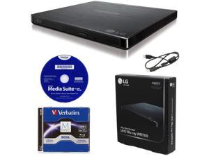 LG BP60NB10 Portable 6X Ultra HD 4K Blu-ray Burner External Drive with CyberLink Software, 100GB M-DISC BDXL, and USB Cable - Burns CD DVD BD DL BDXL Discs