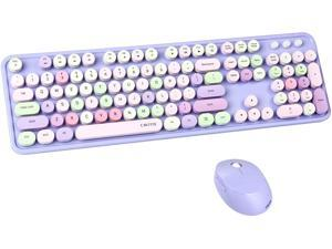 UBOTIE Colorful Computer Wireless Keyboard Mouse Combos Typewriter Flexible Keys Office Full-Sized Keyboard 2.4GHz Dropout-Free Connection and Optical Mouse (Purple-Colorful)