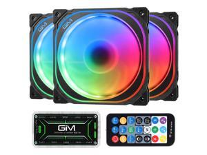 GIM KB-21 RGB Case Fans, 3 Pack 120mm Quiet Computer Cooling LED Fan for PC case and CPU Cooler, Colorful Rainbow Speed Adjustable Cooler with Hub