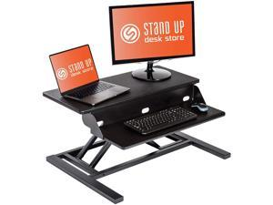 Stand Up Desk Store AirRise Pro Standing Desk Converter – Adjustable Height, Two Tier, 32 Inches Long, Black