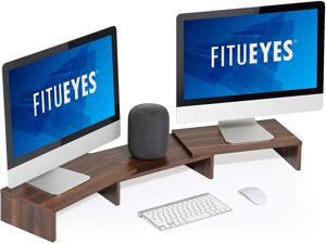 FITUEYES 3 Shelf Monitor Stand Riser with Adjustable Length and Angle Brown DT108002WB