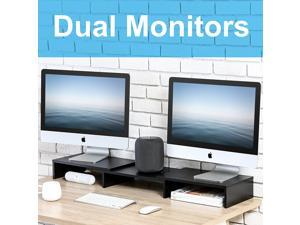 FITUEYES 3 Shelf Monitor Stand Riser with Adjustable Length and Angle,DT108001WB