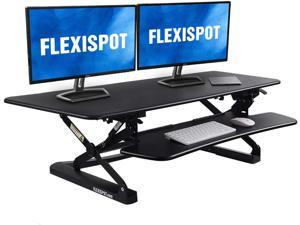 FlexiSpot Height Adjustable Standing Desk Converter 47 Inch Stand Up Desk Riser, Wide Black Home Office Desk for Dual Monitor Workstations (M3B)