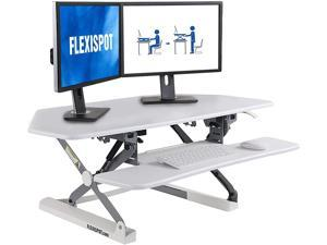 FLEXISPOT Standing Desk Converter 41 Inches Sit Stand Desk Riser Height Adjustable Home Corner Office Desk for Monitor Laptop with Quick Release Keyboard Tray