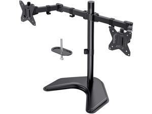Dual Monitor Stand, Free Standing Height Adjustable Two Arm Monitor Mount for Two 13 to 32 inch Flat Curved LCD Screens with Swivel and Tilt, 17.6lbs per Arm by Huanuo