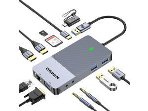 QGeeM USB 3.0 Docking Station, USB C Hub to HDMI Multiport Adapter,USB Hub Dual HDMI VGA Monitor Triple Display Portable Laptop USB Dock