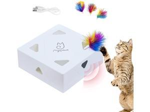 Migipaws Whack-A-Mole Cat toys, Automatic Feather Like A Mice Pop out Hide in 7 Holes at 4 Sides, Mental Physical Puzzle Exercise For Cats Kittens Obessed, USB Rechargeable 4pcs Feather Refill