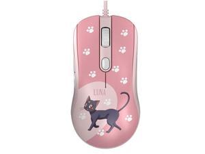 AG325 2500DPI 6 Programmable Buttons USB Wired Gaming Mouse Pixart PMW3325-Pink Crystal-LUNA