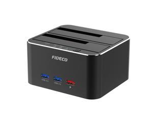 FIDECO USB 3.0 to SATA Dual Bay 4-in-1 Hard Drive Docking Station, External Hard Drive Dock for 2.5/3.5 Inches HDD SSD with Hard Drive Duplicator/Offline Clone Function, Support 2 X 12TB