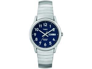 Timex Men's | Silver-Tone Case & Band w Day/Date | Easy Reader Watch T20031-Blue Version