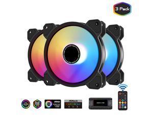 EZDIY-FAB 120mm ARGB Case Fan,Motherboard Aura Sync Fan, High Airflow,Speed Adjustable, Addressable RGB Fan for PC Case 10-Port Fan Hub and Remote-3 Pack
